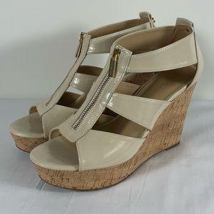Michael Kors Damita Nude Leather Wedge Sandals 8M